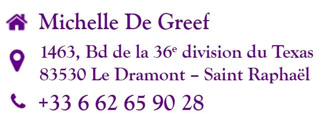 Adresse et Téléphone du cabinet de Réflexologie de Michelle De Greef
