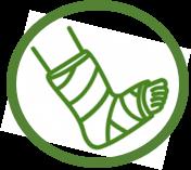 Pictogramme de traumatismes du pied en réflexologie plantaire