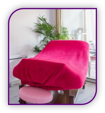 Table de soins du cabinet de Michelle De Greef réflexologue