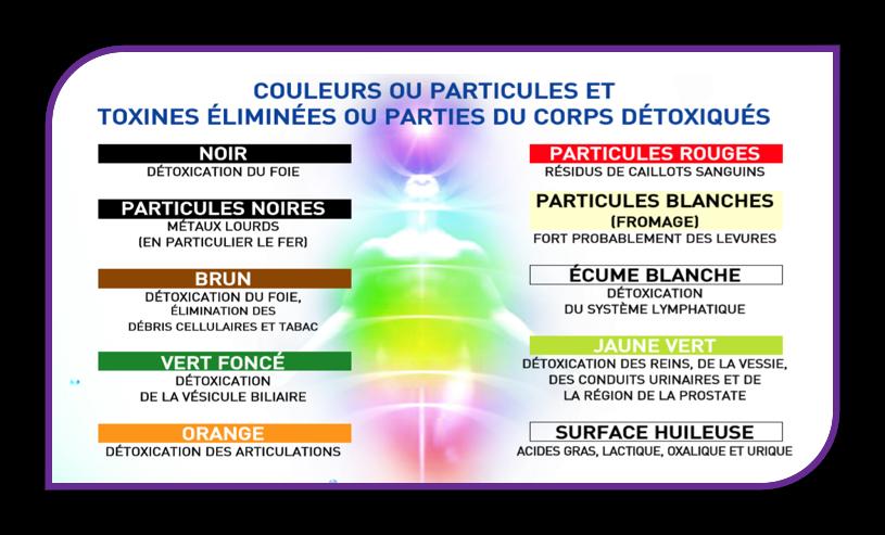 Pura Détox - Tableau des couleurs de l'eau après détoxination